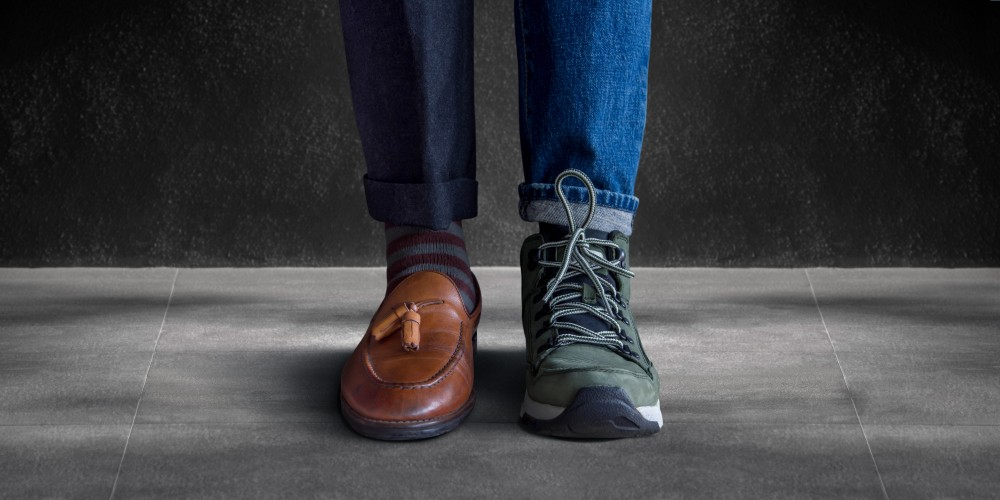 work life balance concept two shoes sneakers and work shoes