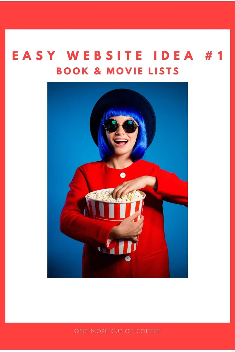 woman in red dress and blue hair eating movie popcorn