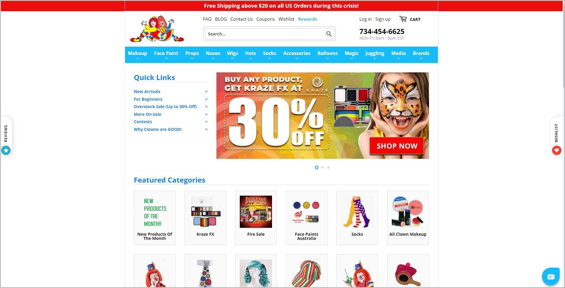 screenshot of ClownAntics.com homepage, showcasing clown supplies products