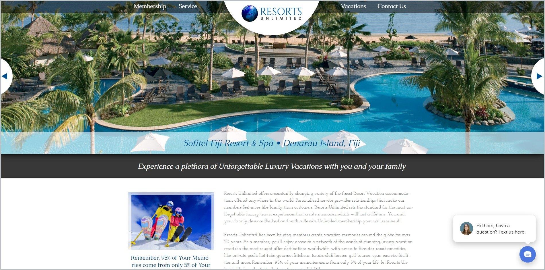 screenshot of Resorts Unlimited homepage, with black header bearing the website's name and main navigation menu
