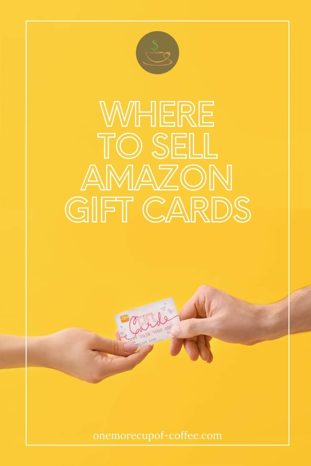closeup image of two hands holding on to a gift card against a yellow background; with text overlay