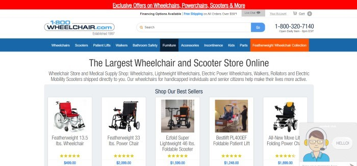 This screenshot of the home page for 1-800Wheelchair.com has a red announcement bar, a white search bar with blue and black elements, a blue navigation bar with white text and one orange tab, a white main section with black text, and a gray product window containing a row of bestselling products, including wheelchairs and patient lifts.