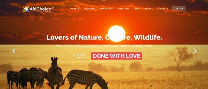 This screenshot of the home page for AfriChoice shows a small herd of zebras on a golden savannah, below a red filtered section showiong a sunset, along with white text and a red call to action button.