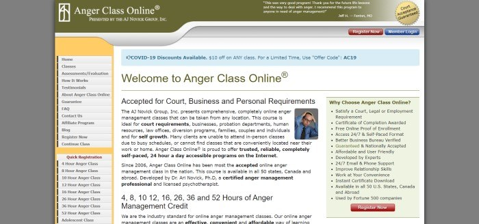 This screenshot of Anger Class Online has a dark gray background, an olive green header, a gray link column with a gold background on the left side of the page, a blue announcement section in the white main section, a white text section with black text, and a green text window with black text on the right side of the page.