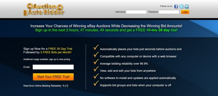 This screenshot of the home page for Auction Auto Bidder has a gray header with a gold logo above a blue announcement section with white and green text and a black main section with white and yellow text, an opt-in window on the left side of the page, and a checklist on the right side of the page.