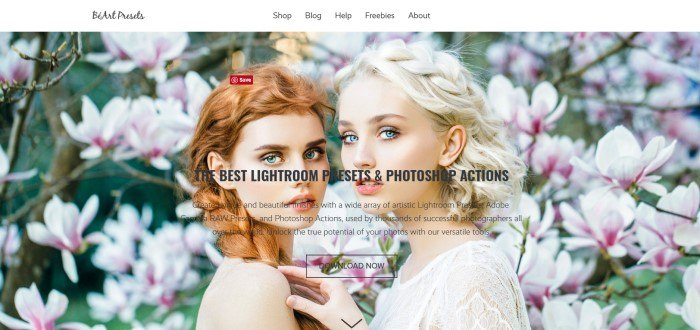 This screenshot of the home page for BeArt-Presets has a white navigation bar with black text above a photo of two beautiful models standing close together in front of a background of pink flowers, along with black text and a transparent call to action button.