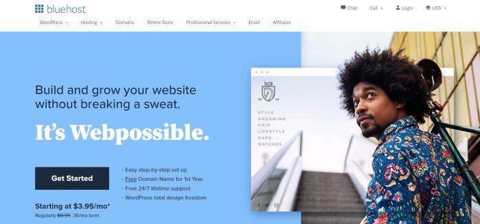 This screenshot of the home page for Bluehost has a white navigation bar with a blue logo above a light blue main section on the left side of the page with blue and black text and a black call to action button, and a photo of a dark-skinned man with curly black hair and a multicolored shirt near a picture of an escalator on the right side of the page.