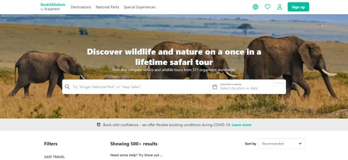 This screenshot of the home page for BookAllSafaris has a photo of three elephants on a savannah behind white text and a white search bar, with a white navigation bar at the top and a green call to action butt