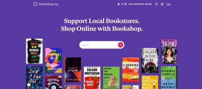 This screenshot of the home page for Bookshop has a blue background, white text in the center of the page and the header, a white search bar in the center of the page, and images of book covers in many colors along the bottom of the page.