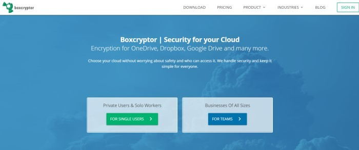 This screenshot for the home page of Boxcryptor has a white navigation bar above a blue filtered photo of clouds in the sky, behind white text, two gray text boxes, a green call to action button, and a blue call to action button.