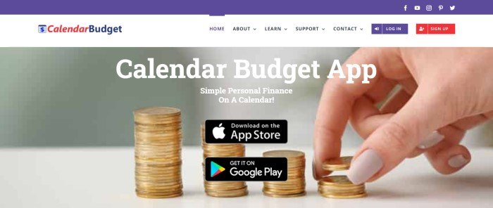This screenshot of the home page for CalendarBudget has an indigo header, a white search bar, and a large photo of a hand stacking gold coins behind white text and two black call to action buttons.