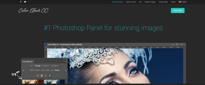 This screenshot of the home page for Color Effects CC has a black navigation bar and main background with text in white and aqua, along with an aqua call to action button and an image showing two screens using the Color Effects CC tools to modify a photo of the face of a beautiful woman wearing a rhinestone headdress with white feathers.