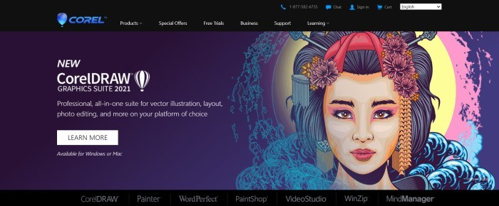 This screenshot of the home page for Corel has a black header with white text and a blue logo above an indigo main section with a graphic of an Asian woman's face on the right side of the page and white text with a white call to action button on the left side of the page.