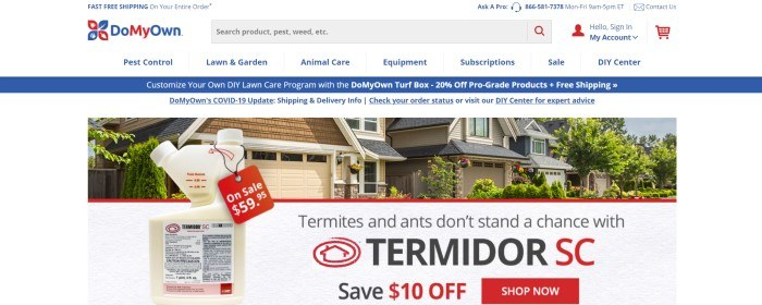 This screenshot of the home page for DoMyOwn has a white header and search bar with blue text and a blue and red logo above a blue announcement bar, a white announcement bar, and a main section with a photo showing a row of houses behind termite poison in a white jar, as well as red and black text and a red call to action button.