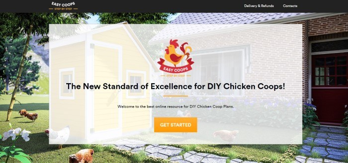 This screenshot of the home page for Easy Coops has a black header with white and gold text above a photo of a yellow chicken house in the back yard of a brick house with tall trees, as well as a filtered section with black text, a gold and red logo, and an orange call to action button.