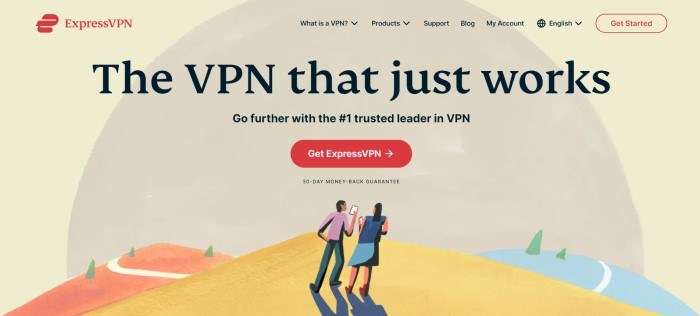 This screenshot of the home page for ExpressVPN has a graphic background in beige, yellow, orange, and blue, showing two people using tablets in a remote landscape, behind black text and a red call to action button.