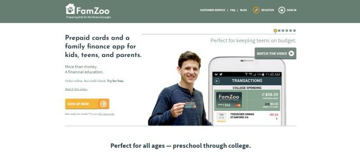 This screenshot of the home page for FamZoo has a green navigation bar with white text above a white main section with a photo of a smiling teenage boy holding a FamZoo card in the center of the page, a mobile device with the FamZoo app open on it on the right side of the page, and black and green text with a yellow call to action button on the left side of the page.