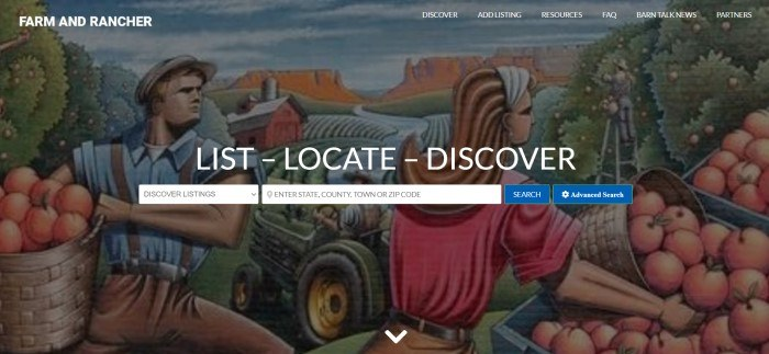 This screenshot of the home page for Farm And Rancher shows a painting of a man and a woman in farmlands, carrying baskets of fruit, behind white text and blue call to action buttons.