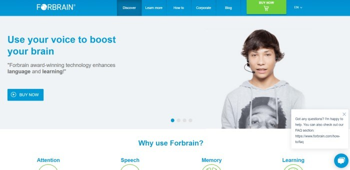 This screenshot of the home page for Forbrain has a blue navigation bar with white text and one green tab above a white main section with a photo of a young man in a gray hoodie using a Forbrain headset on the right side of the page and a text section with blue and black text and a blue call to action button on the right side of the page.