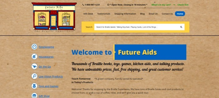 This screenshot of the home page for Future Aids has a brown background throughout the page, with a red, blue and yellow logo in the upper left corner, a yellow search bar, black text in the navigation bar, a column of blue text links down the left side of the page, and text in blue, black, and yellow on the right 2/3 of the page.