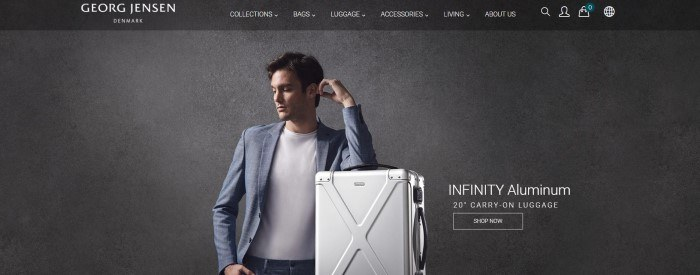 This screenshot of the home page for Georg Jensen Travel has a dark header with white text above a photo with a charcoal background and a young man in a tailored suit and white tee shirt leaning on an aluminum carry-on case, along with white text and a transparent call to action button.