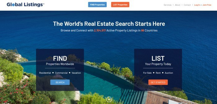 This screenshot of the home page for Global Listings shows an image of a beautiful path with flowers and greenery near the ocean behind white and orange text and two dark-filtered windows with white text and blue and orange call to action buttons.
