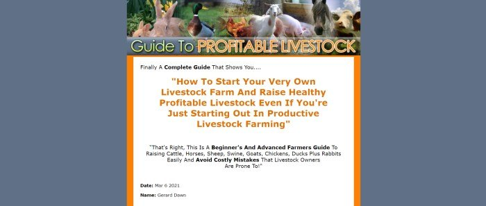 This screenshot of the home page for Guide To Profitable Livestock has a slate blue background on both sides of a main section with a header showing a variety of farm animals above the title of the book in yellow and orange, above a white text section with orange borders and orange and black text.