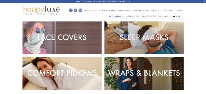 This screenshot of the home page for HappyLuxe has a dark blue header, a white navigation bar with a gold and black logo, and a grid of four photos with white text featuring models using face covers, sleep masks, comfort pillows, and wraps.