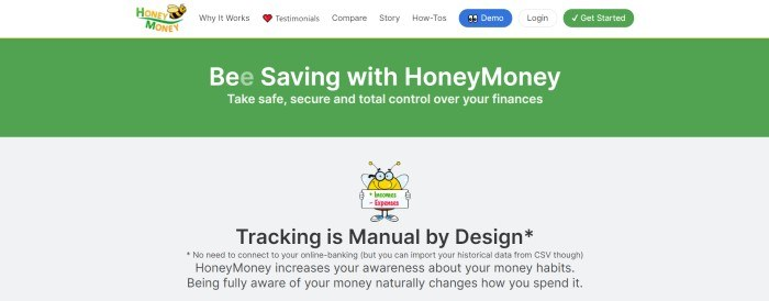 This screenshot of the home page for HoneyMoney has a white navigation bar with blue, white, and green call to action buttons above a green announcement bar with whtie text and a light gray main section with black text and a graphic arts bee.