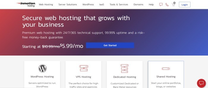 This screenshot of the home page for InMotion Hosting has a white navigation bar above a red-to-blue gradient section with white text and a blue call to action button, above a row of white product boxes with graphic icons and black description text.