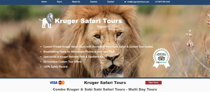 This screenshot of the home page for Kruger Safari Tours has a close-up picture of a lion behind white text and below a blue navigation bar with white text.