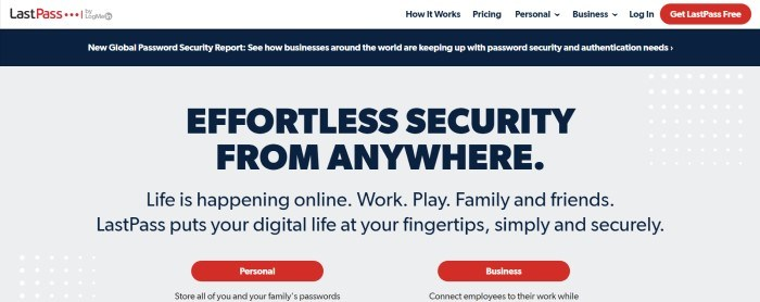 This screenshot of the home page for LastPass has a white navigation bar, a black announcement bar, and a gray main section with black text and two red call to action buttons.