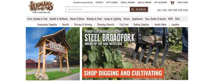 This screenshot of the home page for Lehman's has a white header, search bar, and set of three navigation bars above a set of photos that includes a Lehman's sign on the left side of the page and a photo of a man's foot stepping on the top of a broadfork in the soil, as well as white text and an orange call to action button.