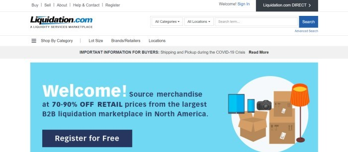 This screenshot of the home page for Liquidation.com has a white navigation bar, a gray announcement bar, and a white background with a light blue main section featuring graphic representations of consumer goods and cardboard boxes on the right side of the page, with blue and white text and a blue call to action button on the left side of the page.