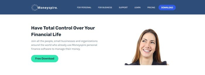 This screenshot of the home page for Moneyspire has a blue navigation bar with a lighter blue call to action button above a white main section with black text and a green call to action button on the left side of the page and a shoulders-up photo of a smiling woman with brown hair on the right side of the page.