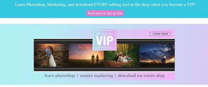 This screenshot of the home page for Morgan Burks has a light blue header with white text and a pink call to action button above an empty white strip and then another light blue-to-lavender gradient section that includes a collage row of several edited photos behind a blue text box with white text, as well as a row of black text links below it.