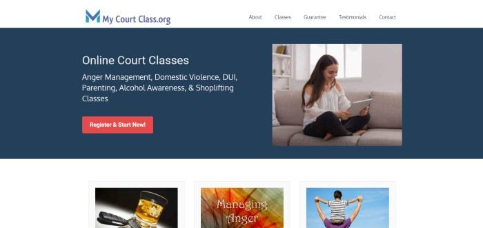 This screenshot of the home page for My Court Class has a white navigation bar with a blue logo above a navy blue main section with a photo of a smiling woman holding a laptop on the right side of the page and a text section with white text on the left side of the page, along with a red call to action button.