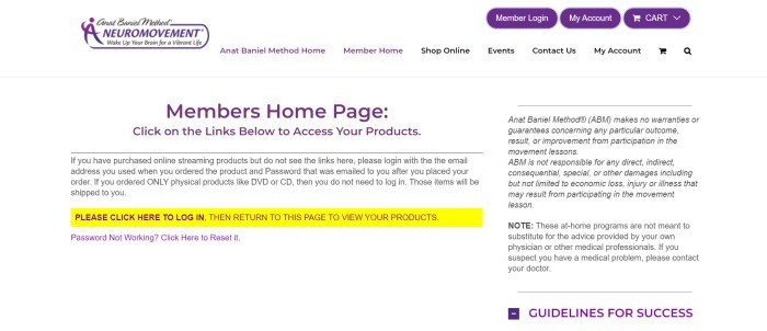 This screenshot of the home page for NeuroMovement has a white background throughout the page with three purple buttons in the top right corner, text in purple and black in the navigation bar, and two columns with text in black and purple, with one line of text on the left side of the page highlighted in yellow.