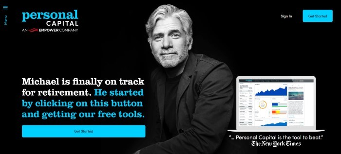 This screenshot of the home page for Personal Capital has a black background with a gray and white photo of a smiling man in a black jacket, behind text in blue, white, and red, as well as a blue call to action button on the lower left side of the page and a colorful image of a Personal Capital application open on a computer screen on the lower right side of the page.