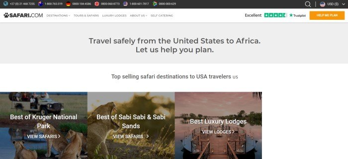 This screenshot of the home page for Safari.com has a black header, a white navigation bar, a gray text section, and a white text section above a row of photos of destinations with white text describing what they are.
