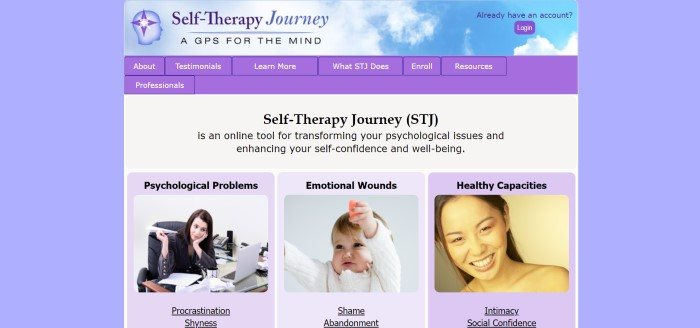 This screenshot of the home page for Self-Therapy Journey has a lavender background and purple elements throughout the page, including in the navigation bar, with a white main section that includes black text and a row of photos with lavender backgrounds and black text representing different components of Self-Therapy Journey.