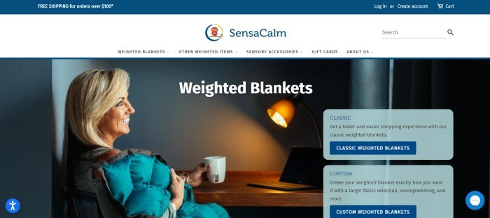 This screenshot of the home page for SensaCalm has a blue header, a white navigation bar with a centered blue logo, and a photo of a smiling blonde woman sitting at a table, holding a coffee cup, with a weighted blanket around her shoulders, as well as two aqua text windows on the right side of the page with blue and black text and blue call to action buttons.