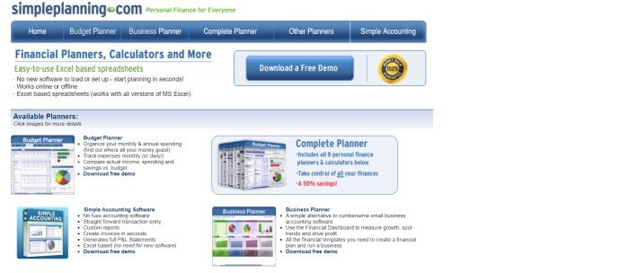 This screenshot of the home page for Simple planning has blue and green text on a white background throughout most of the page, as well as a blue navigation bar, a blue call to action button, and a blue product section near the bottom of the page that shows four types of software packaging with descriptive text beside it.
