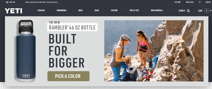 This screenshot of the home page for Yeti has a black header and navigation bar above a gray main section featuring a blue water bottle with black text and an olive green call to action button on the left side of two women using the water bottle while hiking on the right side of the page.