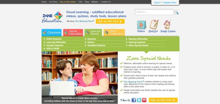 This screenshot of the home page for Zane Education has a black navigation bar above a white main section with blue, red, gold, and green tabs in a secondary navigation bar, a gold call to action button, blue text, and a green text link section above a photo on the left side of the page showing a smiling boy with special needs beside a smiling woman in a pink shirt working on a laptop in a library, with text in green and black on the right side of the page and another gold call to action button.