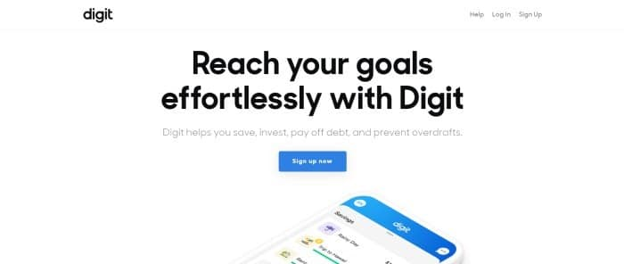 This screenshot of the home page for digit has a white header and background with black text, along with a blue call to action button and an image showing digit's interface on the screen of a mobile phone.