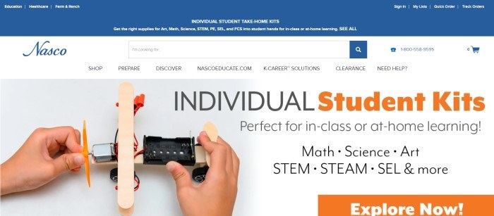 This screenshot of the home page for eNasco has a blue header with white text, a white search and navigation bar, and a light gray main section with black and orange text, along with a photo of the hands of a student building a science project.