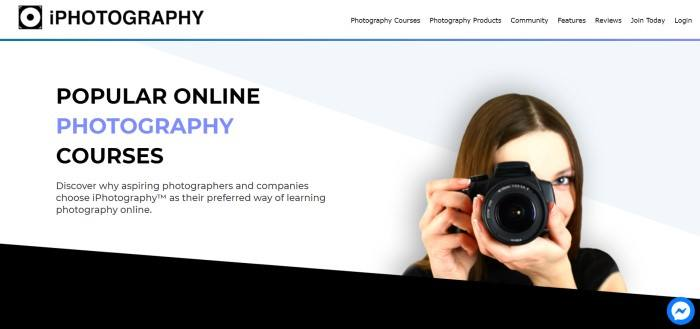 This screenshot of the home page for iPhotography has a white navigation bar, a blue accent line, and a white and gray background with a photo of a smiling brunette woman using a camera on the right side of the page and text in black and blue on the right side of the page, above a black slanted section at the bottom of the page.