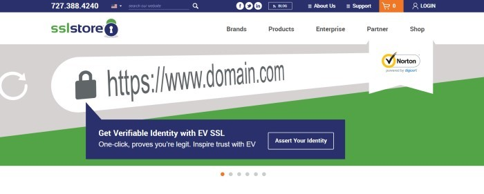 This screenshot of the home page for SSLStore has a blue header, a white navigation bar, and a gray and green main section with white and blue graphic elements, gray and white text, and a transparent call to action button with a white outline.