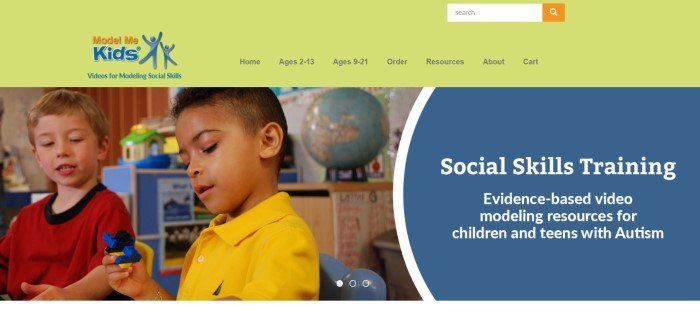 This screenshot of the home page for Model Me Kids has a yellow search and navigation bar with an orange and blue logo in the upper left corner, above a spilt main section that includes a photo of two boys playing together in a classroom on the left side of the page and a blue text section with white text on the right side of the page.